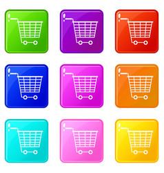 Empty supermarket cart with plastic handles 9 set vector