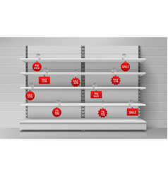 empty supermarket shelves with red wobblers vector image
