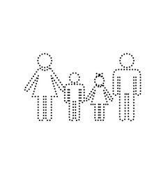 family sign black dotted icon on white vector image