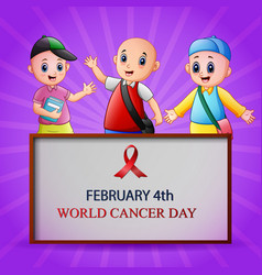 february 4 world cancer day poster vector image