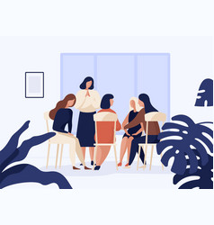 female characters sitting on chairs in circle vector image
