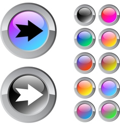 Forward arrow multicolor round button vector image