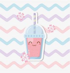 Fresh fruit sorbet with straw kawaii character vector