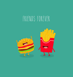fries cheeseburger friends forever vector image