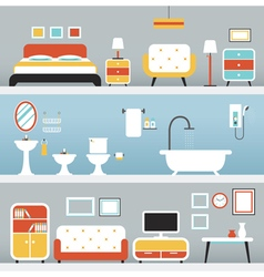 Furniture in Bedroom Bathroom Living Room vector image vector image