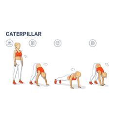 Girl doing caterpillar walk exercise fitness home vector