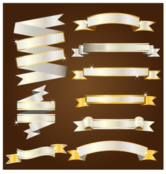 Gold and silver ribbon vector image