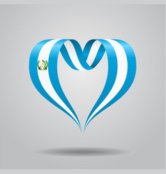 Guatemalan flag heart-shaped ribbon vector