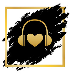 headphones with heart golden icon at vector image