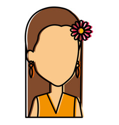 hippie woman avatar character vector image