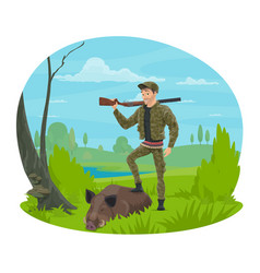 Hunter with rifle and trophy boar cartoon icon vector