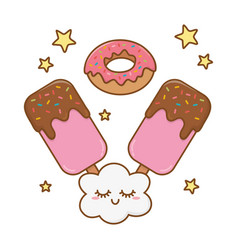 Ice lolly and donut vector