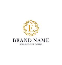 Initial letter e luxury ornament logo design vector