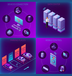 iot business office isometric concept vector image