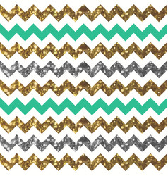 Jade zigzag pattern with glittery gold and silver vector