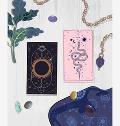 Layout on tarot cards cards vector