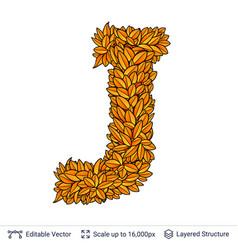 Letter j sign of autumn leaves vector