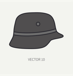 Line flat color motorcycle icon classic vector