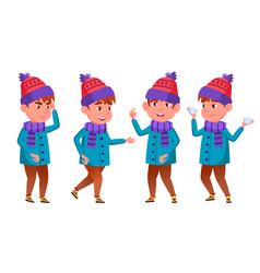 little boy primary school winter holidays vector image