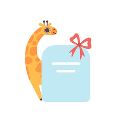 little giraffe holding empty banner with red bow vector image