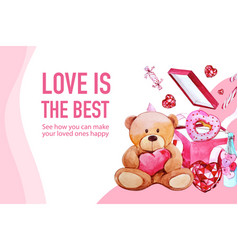 Love frame design with teddy bear box candy vector