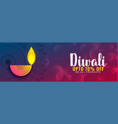 Lovely diwali festival disount banner or coupon vector