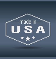 made in usa hexagonal white vintage label vector image