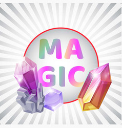 magic silver background crystal banner vector image