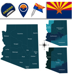 Map of arizona with regions vector