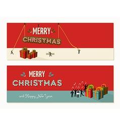Merry Christmas teamwork cooperation vector