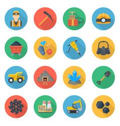 mining icons flat style set vector image