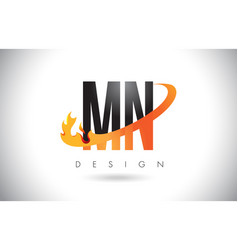 mn m n letter logo with fire flames design and vector image