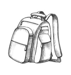modern tourist backpack suitcase monochrome vector image