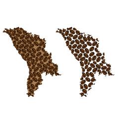 Moldova - map of coffee bean vector