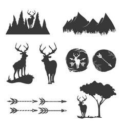 monochrome vintage set icons emblems logos and vector image