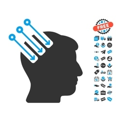 Neuro Interface Icon With Free Bonus vector image