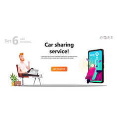 online carsharing man and scooter rent vector image