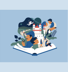 Open book story people imagination concept vector