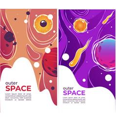 outer space planets and solar flares universe and vector image