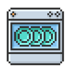 Outlined pixel icon dishwashing machine fully vector