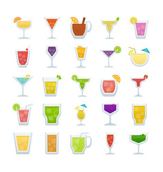 Pack of cocktails flat icons vector