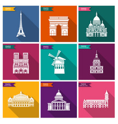 paris landmarks and monuments flat icons vector image