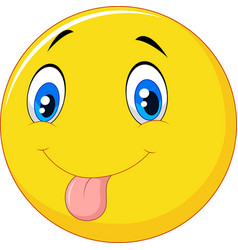 playful emoticon smiley jokingly stuck out its ton vector image