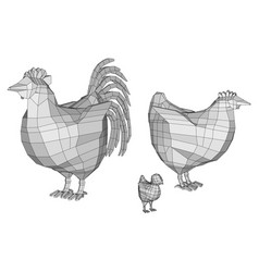 polygonal cock and chicken vector image