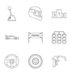 Race cars icons set outline style vector