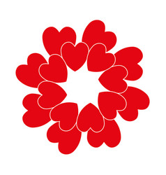 Red circle heart vector