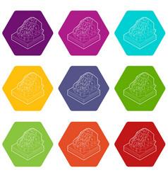 Rockfall icons set 9 vector