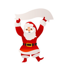 santa claus in glasses holding blank empty banner vector image
