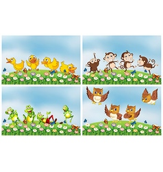 Scenes with animals in the field vector image