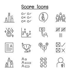 Score icons set in thin line style vector